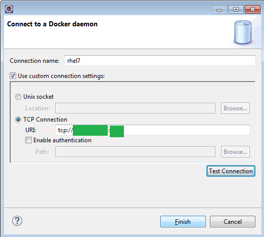 Connecting Eclipse On Windows To Remote Docker Daemon